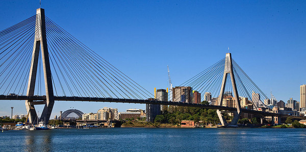 Anzac Bridge and Sydney harbour Bridge from Glebe Point